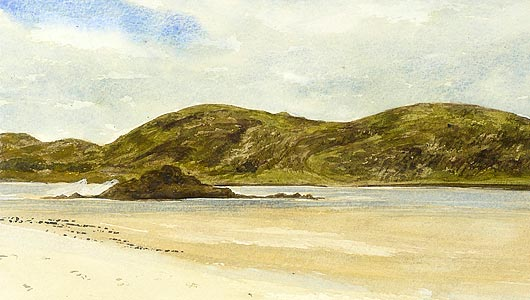 Part of a watercolour of a beach scene painted in class as a demonstration