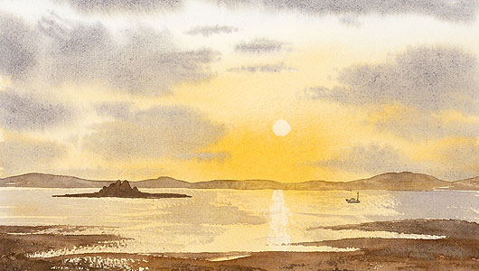 Part of a watercolour of a sunset painted in class as a demonstration